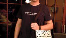 Neil, sporting his new diaper bag